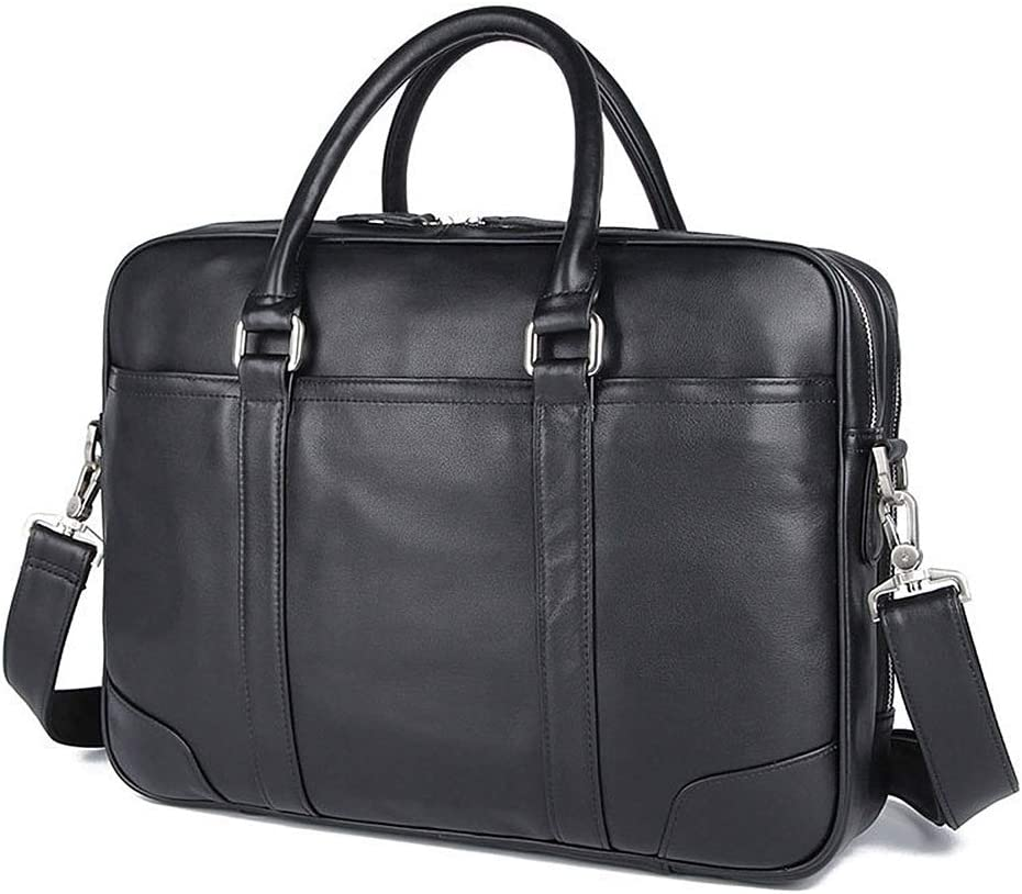 Bjzxz Mens Messenger Bag Large-Capacity Mens Laptop Bag European and American Retro Business Leather Briefcase Color : Black-Silver Hardware, Size : 41x10x29cm