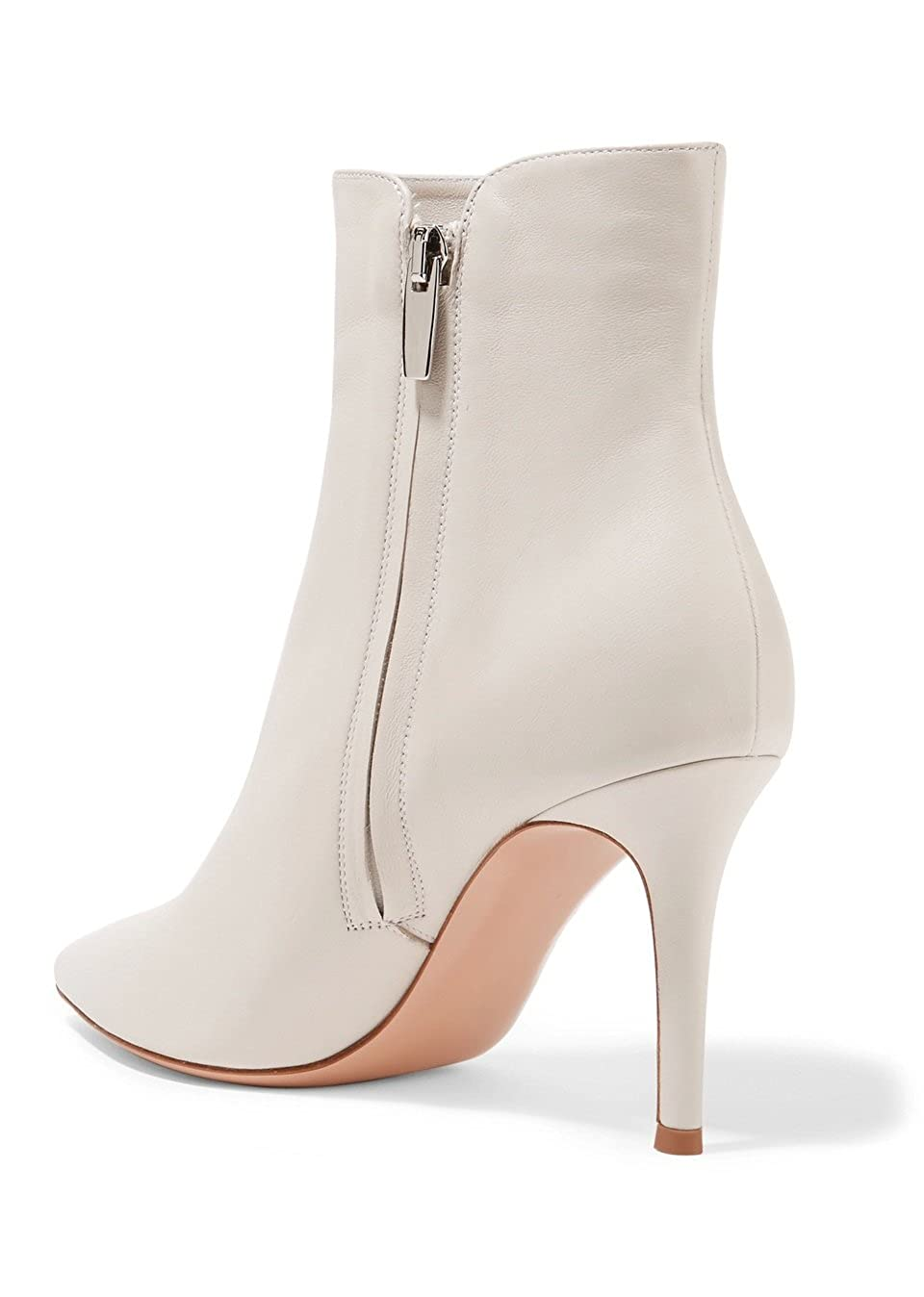 Soireelady Damen Ankle Stiefel  Stiefeletten Zipper     Leder-Optik Schuhe   8 cm High Heels   Kurzschaft Stiefel mit Absatz  fbe931