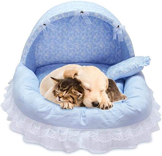 Gulunmun Camas para Gatos Camas para Perros Encaje Princess Pet Dog Bed House Crate Cat Bed