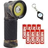 Nebo 6549 Cryket Camo 3-in-1 LED Flashlight/Work Light/Green LED with 8 Nebo AAA Batteries and Lumintrail Keychain Light