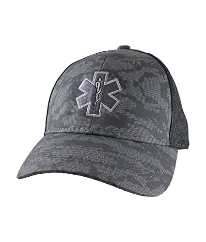 76ab8954ab1 Amazon.com  Paramedic EMT EMS Star of Life Embroidery on an Adjustable  Silver Grey Urban Camo and Black Structured Premium Trucker Cap  Handmade