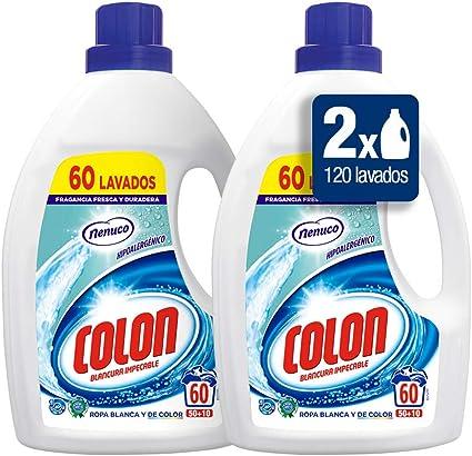 TALLA 60 Unidad (Paquete de 1). Colon Detergente para Ropa Líquido Fragancia Nenuco Hipoalergénico - Pack de 2 botellas de 60 lavados (120 lavados)