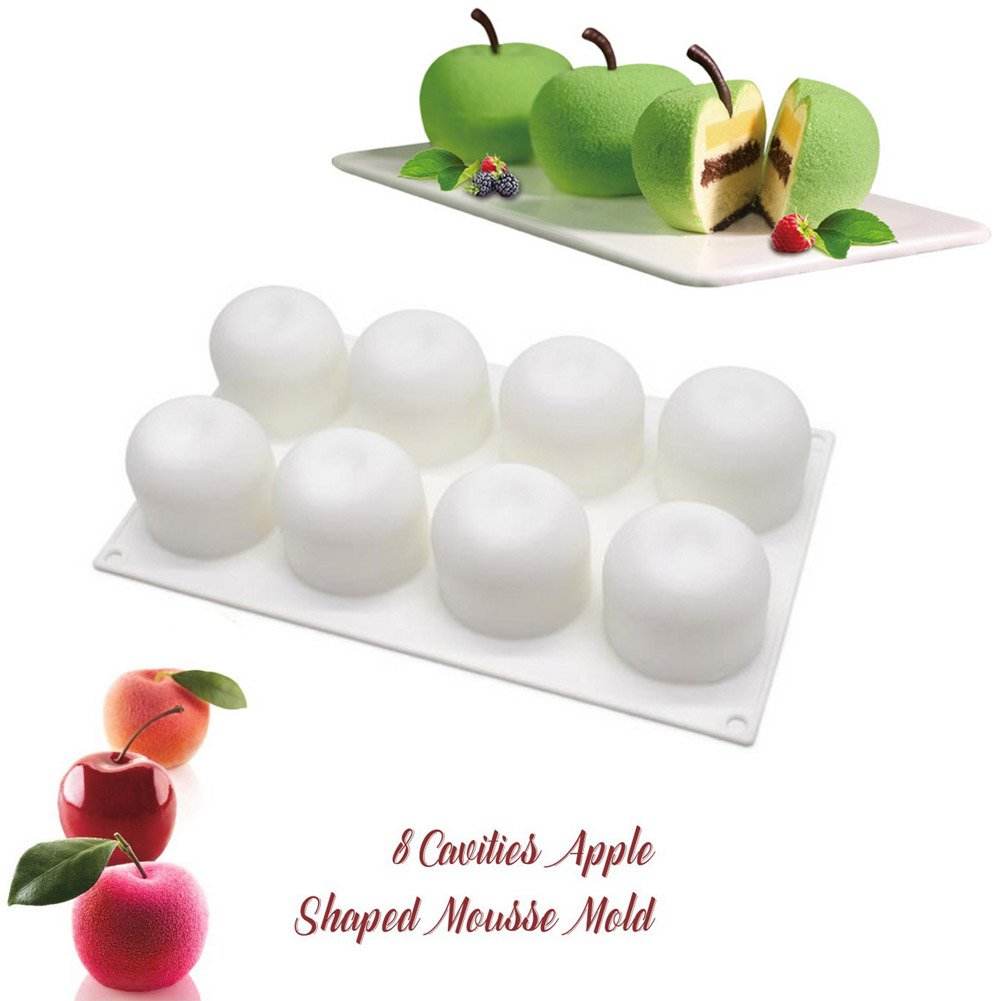 8-Cavity Non stick Cake Mold//French Dessert//Pastry Baking//Chocolate Mold SAKOLLA Apple Shape Mousse Silicone Mold