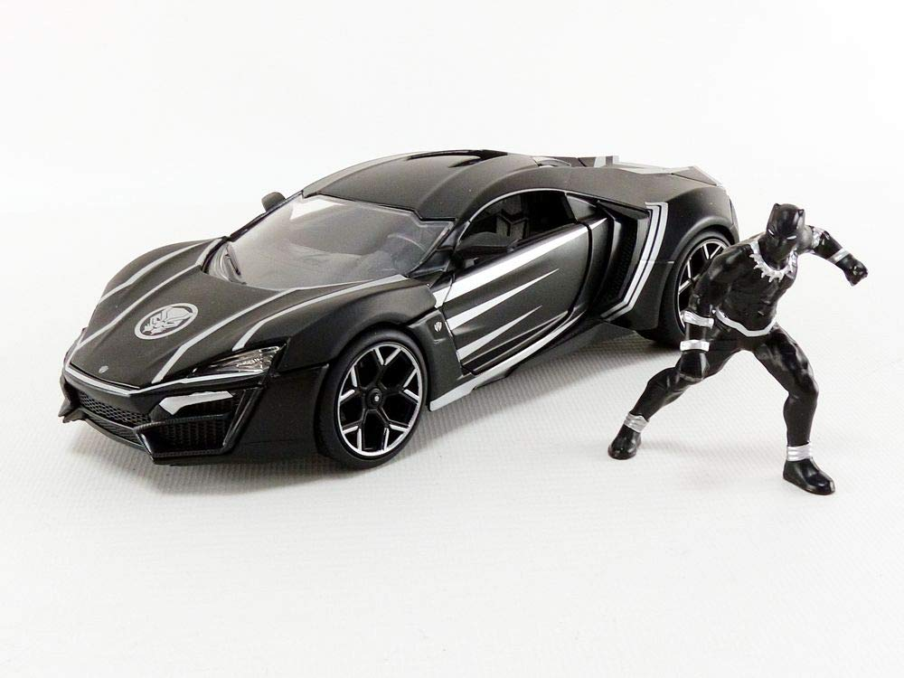 Jada Toys 99723bk -  Auto in miniatura da collezione LYKAN HYPER SPORT Con Figura Black Panther 1/24 DIE CAST, Nero