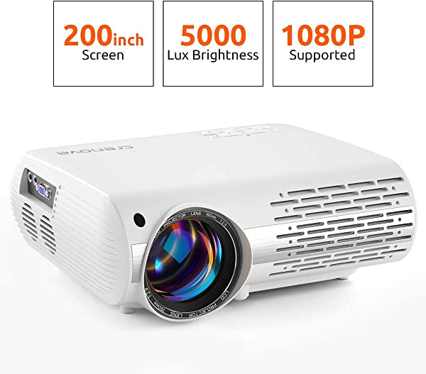 Crenova Video Projector, 5000 Lux Home Movie Projector