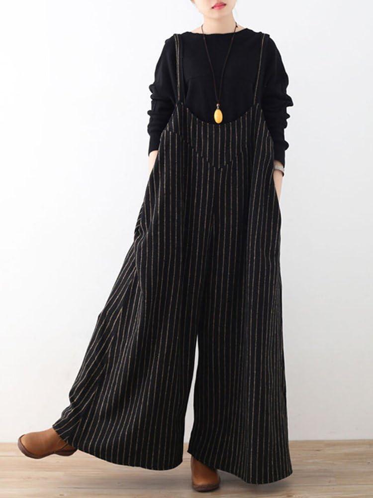 QUAKOI Plus Size Casual Women Stripe Wide Leg Pants Playsuits