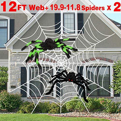 AMENON Halloween Outdoor Decorations, 12 Feet Halloween Round Spider Web with 2 Large Spider (19.7