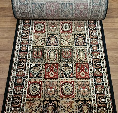 Ivory Roll Custom Runner (Rug Depot 114569 Couristan Royal Kashimar 8199/B599A Antique Nain Black Hall and Stair Runner - 31