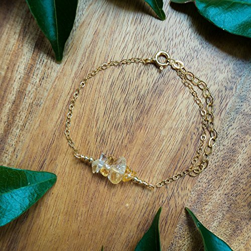 Citrine Bead Bar Crystal Bracelet in 14k Gold Fill 14k Gold Fill Crystal