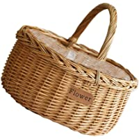 BESPORTBLE Wicker Fruit Basket with Handle Bread Basket Tray Storage Basket Willow Woven Basket Easter Candy Basket for…
