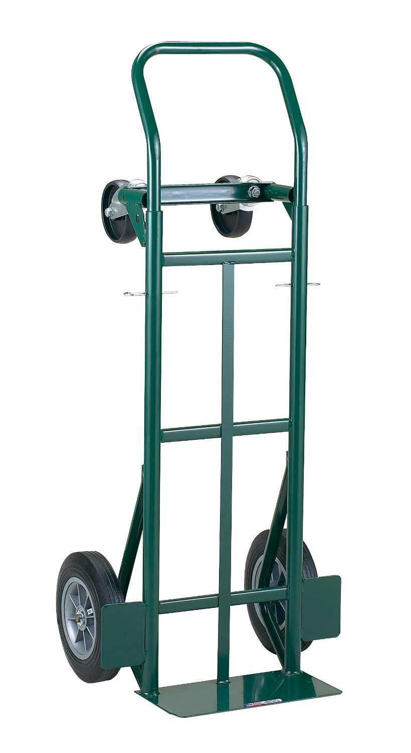 "Harper Trucks 700 lb Capacity Super-Steel Convertible Hand Truck, Dual Purpose 2 Wheel Dolly and 4 Wheel Cart with 10"" Flat-Free Solid Rubber Wheels"