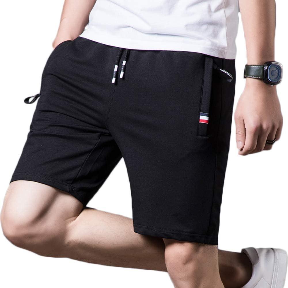 HUATING Pantalones Cortos para Hombre Pantalones Cortos Deportivos para Hombre Pantalones de Hombre Pantalones Cortos de Fitness algod/ón con Cord/ón y Cremallera para Los Bolsillos