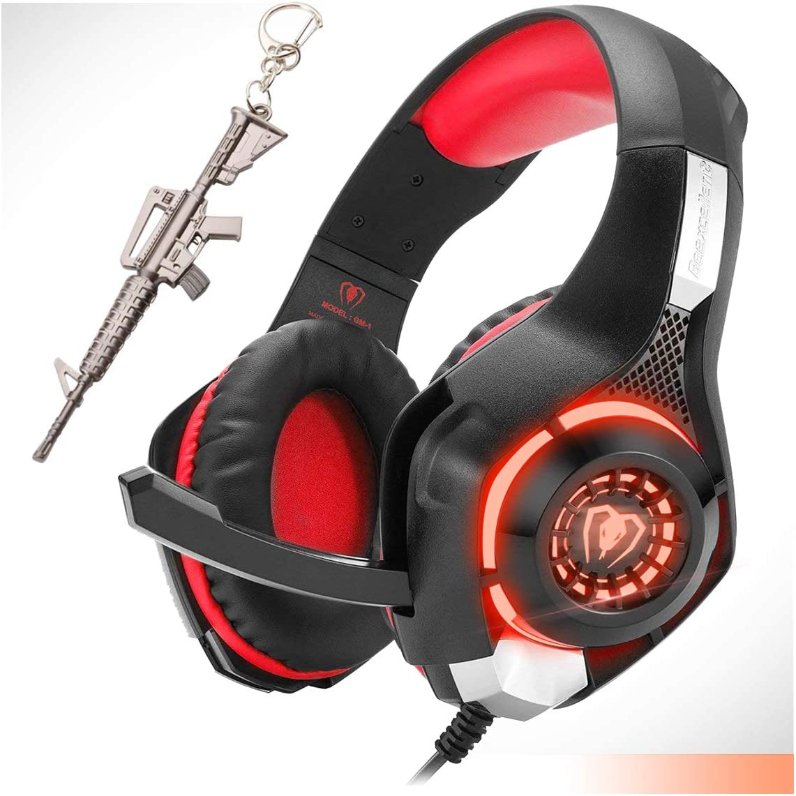 Gaming Headset,Computer Headsets PC 3.5mm Plug Headphones,Lightweight Headset,LED Light,Volume Control,Noise Canceling Mic,for PS4,PC,Xbox ONE,Tablet,Phone,Laptop,Mac Controller (red)