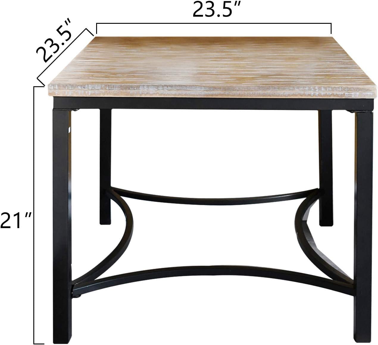 """WELLAND 24"""" Solid Wood Night Stand,Square Rustic Poplar Wood Top Side End Table with Metal Frame for Living Room,Bed Room.: Kitchen & Dining"""