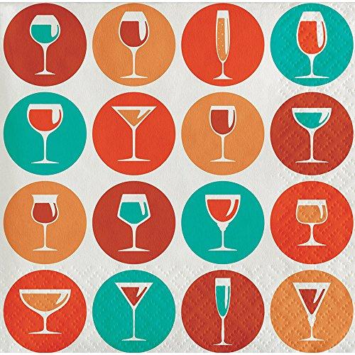 ocktails Pattern 3-Ply Beverage Paper Napkins, Circles ()