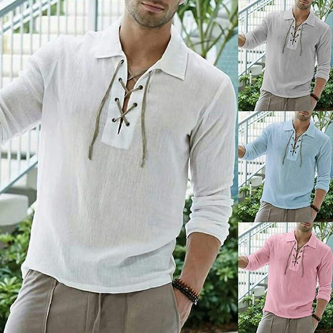 fengduo Hombre Lace-up Camisa Vintage Medieval Camisa Gótico Steampunk Pirata Shirt Solapa Regular Fit T-Shirt Casual Moda Etnica Camisa: Amazon.es: Ropa y accesorios