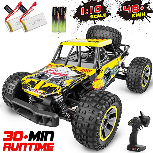 WHIMSWIT Remote Control Car, 1:10 Large Scale Electric RC Car Off-Road Monster Truck with High Speed 48km/h Wide Range 100M 2.4GHz 4WD, Anti-Collision R/C Cross-Country Racing Vehicle (Truck Monster Rc 4x4)