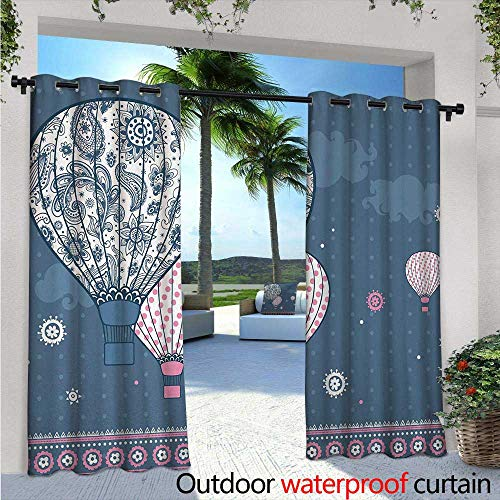Paisley Block Light - Retro Exterior/Outside Curtains W84 x L96 Air Balloons on Polka Dots and Asian Ethnic Paisley Ornaments Art Print for Patio Light Block Heat Out Water Proof Drape Slate Blue Light Pink