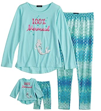 885609050a52 Amazon.com  Komar Kids Girls  Big Dream Doll Mermaid Sleep Set  Clothing