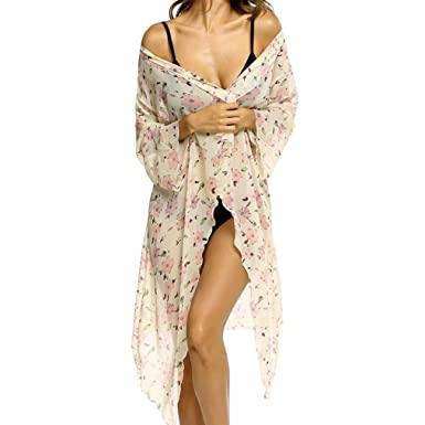 Frauen Chiffon Print Badeanzug Bikini Venmo Bikini Cover up Strandkleid  Bademode Badeanzug Chiffon Sommerkleider Kittel Boho 8643dc1118