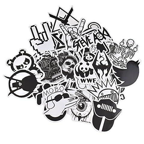 Evinis - 60 Pcs New Style Black and white Random Music Film Vinyl Skateboard Guitar Travel Case Sticker Lot Pack (Decal Stickers Guitar)