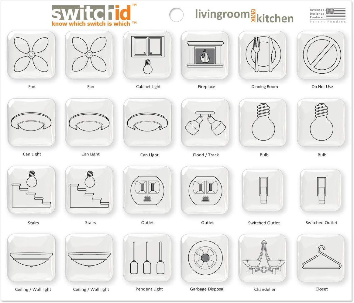 SwitchID Living Room and Kitchen Switch Label and Decal Identifiers, 2D Design - Clear
