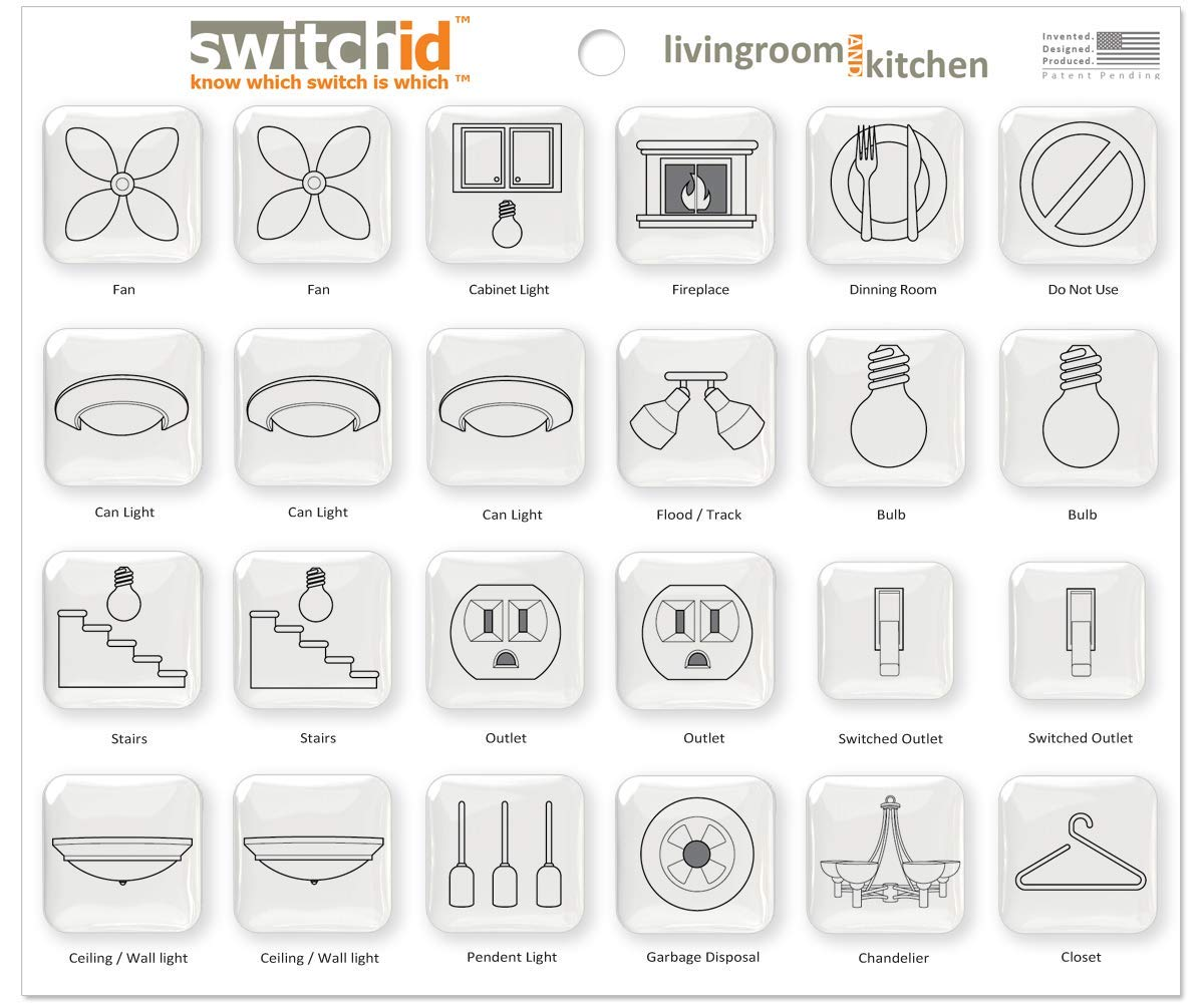 Switchid Living Room And Kitchen Switch Label Decal Identifiers Garbage Disposal Decorator 2d Design White