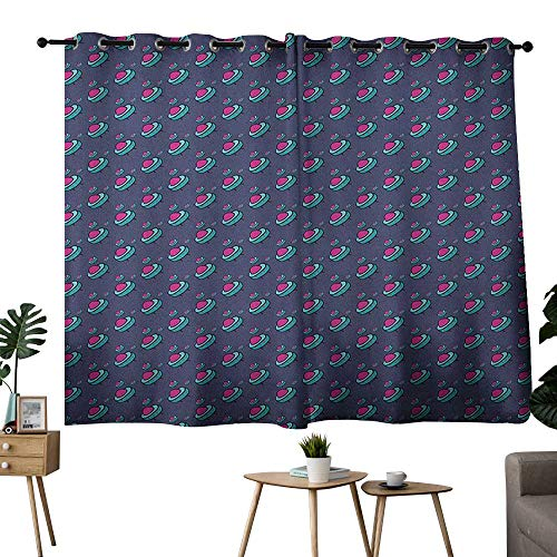 NUOMANAN Room Darkening Wide Curtains Kids,Pattern with Alien Flying Devices Cute Kids Doodle Sketch Astronomy Cartoon, Pink Aqua Cadet Blue,Adjustable Tie Up Shade Rod Pocket Curtain 42