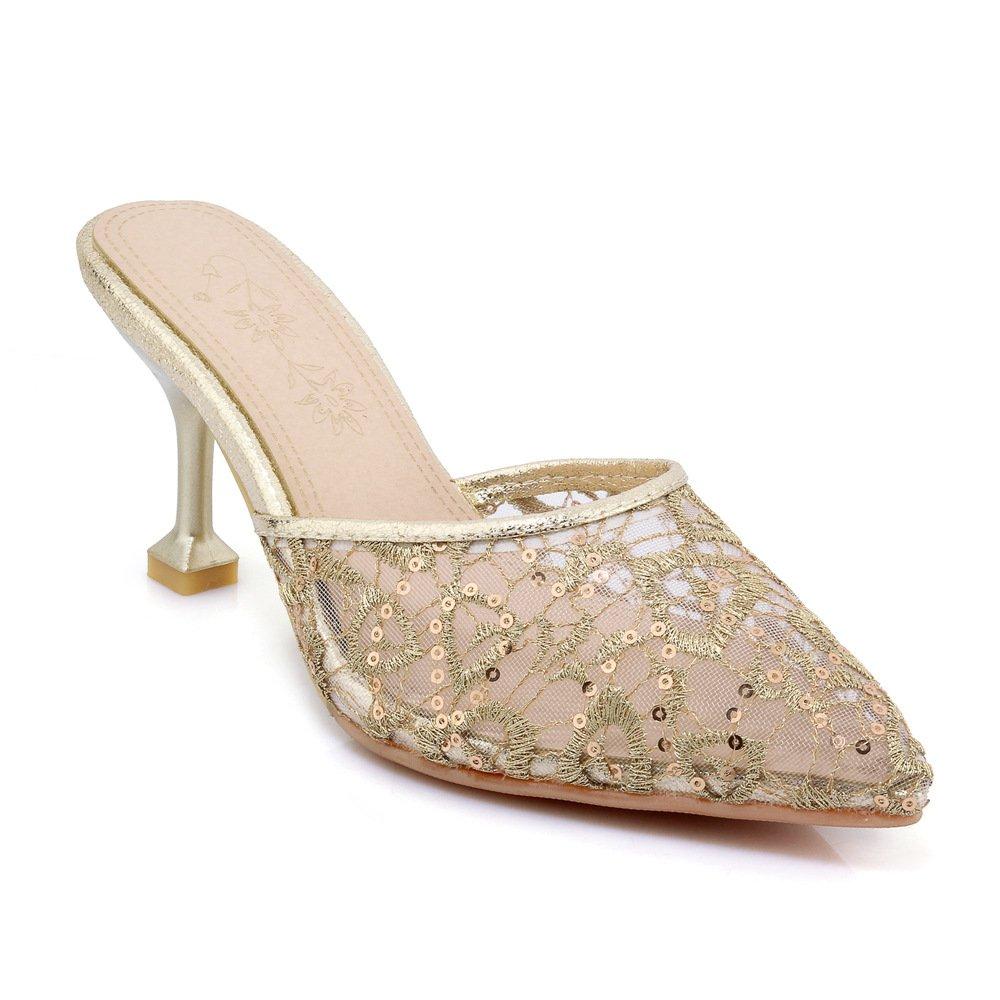 Damen Sandalen Wies Flip Flop Lace Net Garn Garn Garn Fein mit Golden 43 07899e