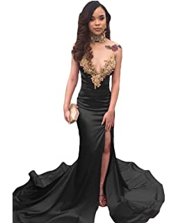 Ri Yun Womens 2018 Sexy Sweetheart Beaded Mermaid Prom Dresses Long with Slit Formal Evening Gowns