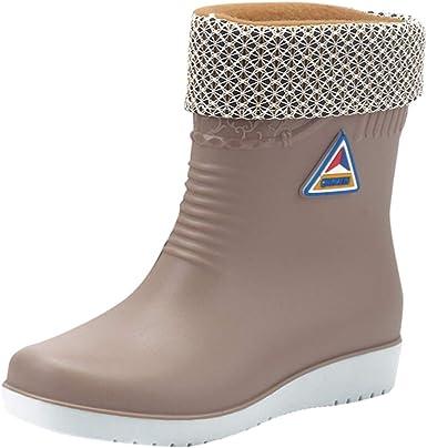 Tyoby Bottes de Pluie Femme Hiver Chaussures Imperméable