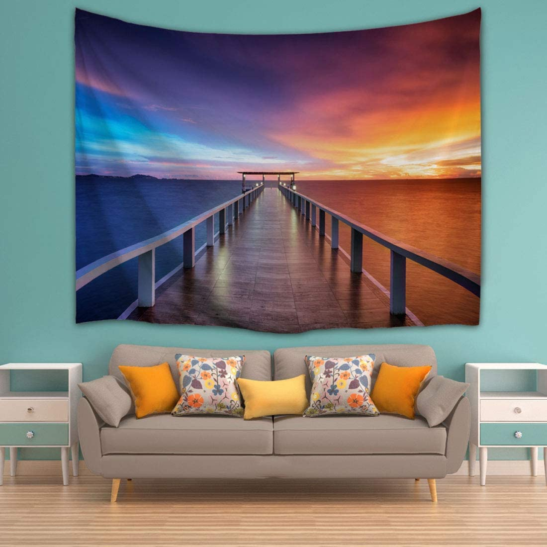 Landscape Tapestry King Size, Seaside Wooden Bridge on Blue Ocean Sea Tapestry Art Wall Hanging for Living Room Bedroom Dorm, 71 x 90