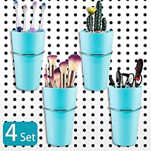 4 Sets Pegboard Bins with Rings, Pegboard Accessories Cups Holder Hooks Kit for Organizing, Garage, Office,Art Craft Room, Laundry Room or Kitchen