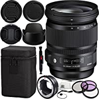 Sigma 24-105mm F/4 DG OS HSM Art Lens for Canon & MC-11 Mount Converter/Lens Adapter (Canon EF-Mount to Sony E) 7PC Bundle Includes Manufacturer Accessories + 3PC Filter Kit (UV-CPL-FLD) + MORE