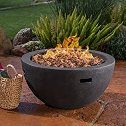Great Deal Furniture Teresa Outdoor 34 Inch Grey Finish Light Weight Concrete Bowl Fire Pit - 40,000 BTU