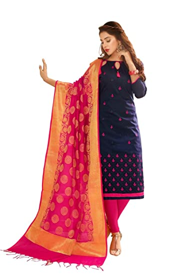Abeer Designer Blue Color Glace Cotton Fabric Embroidered Kurta And Salwar Suit Unstitched Dress Material With Dupatta For Women