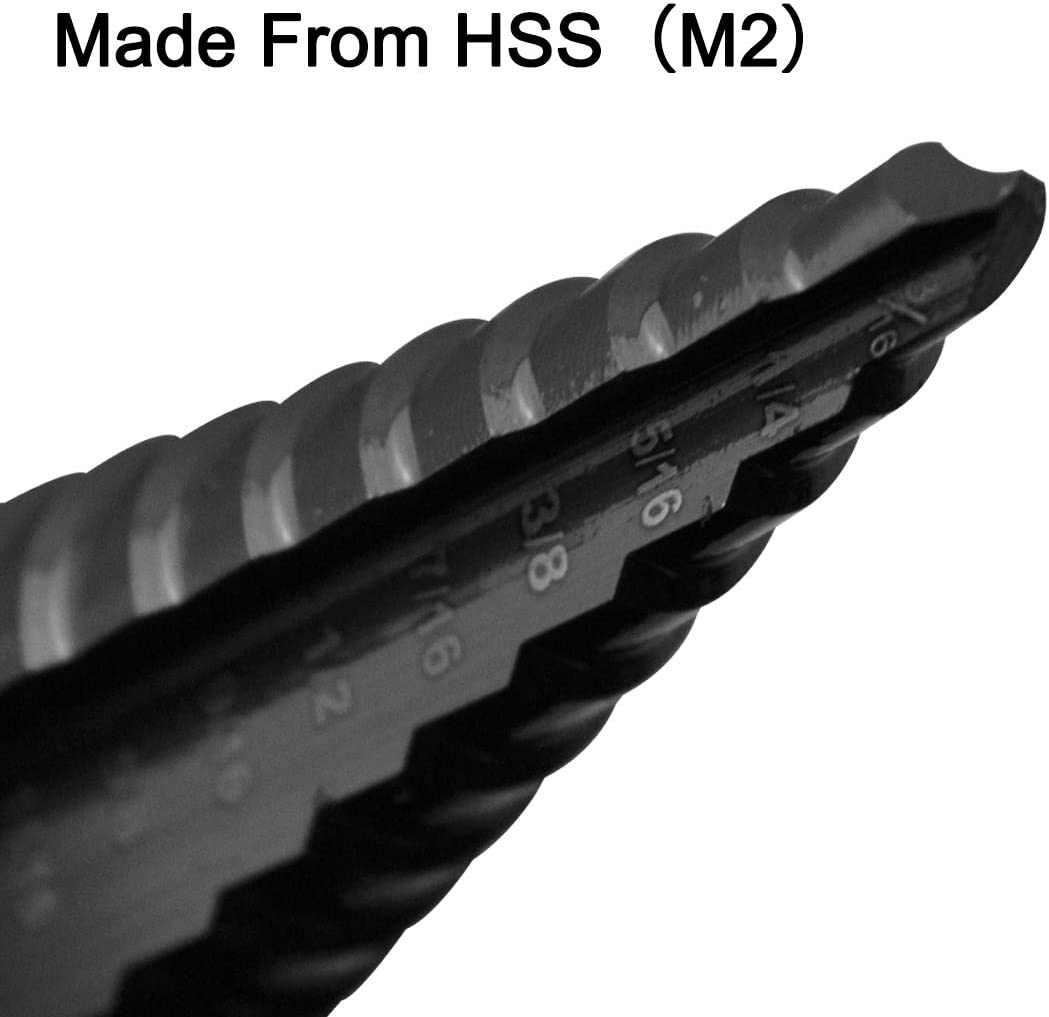 Material M2 PANMAX Step Drill Bit Double-Fluted,3//16-Inch to 7//8-Inch,3//8-Inch Shank,HSS