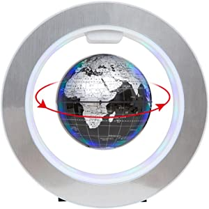 YANGHX Floating Globe World Map 4inch Rotating Magnetic Mysteriously Suspended In Air World Map Home Decoration Crafts Fashion Holiday Gifts (Black)