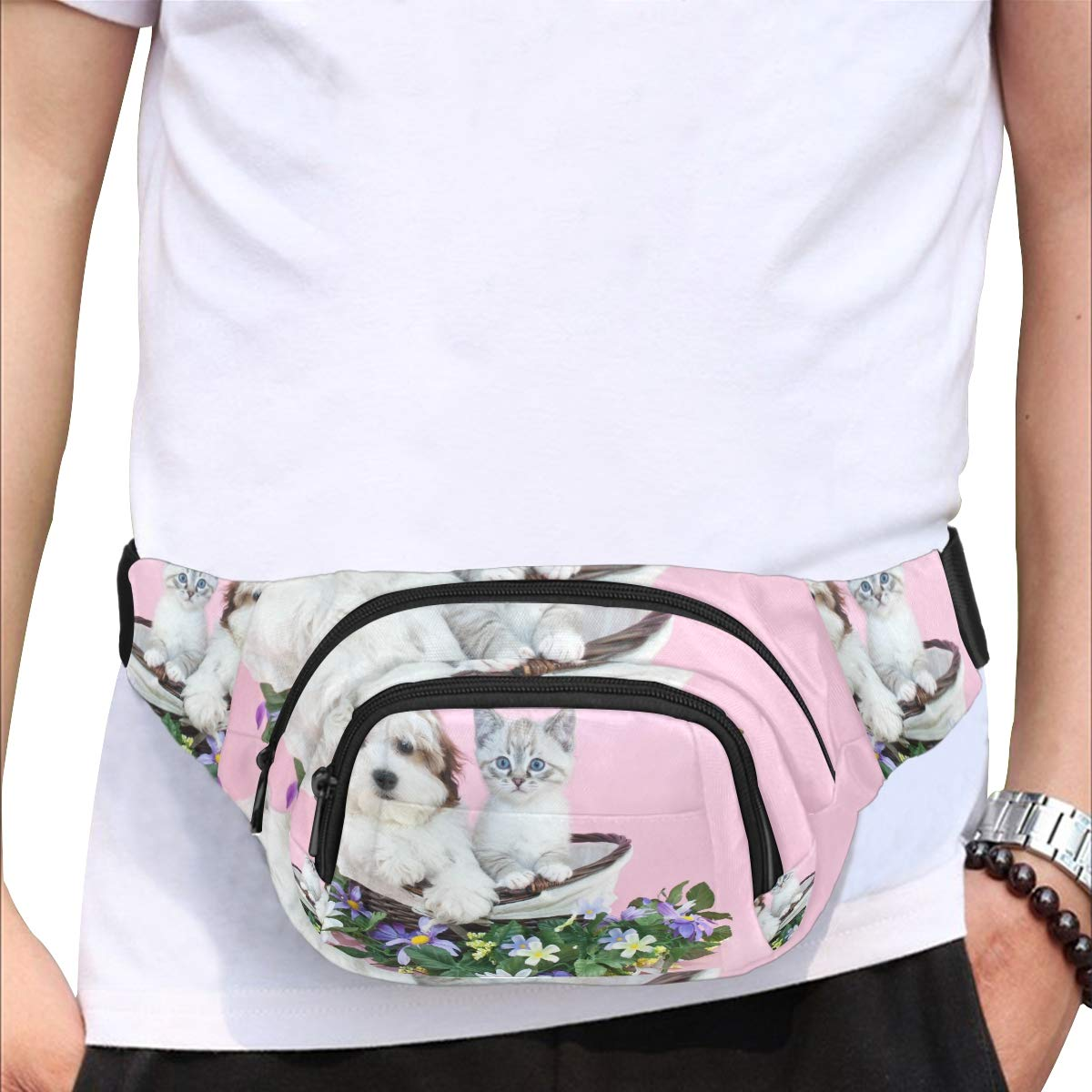 Cute Puppy In The Basket Fenny Packs Waist Bags Adjustable Belt Waterproof Nylon Travel Running Sport Vacation Party For Men Women Boys Girls Kids