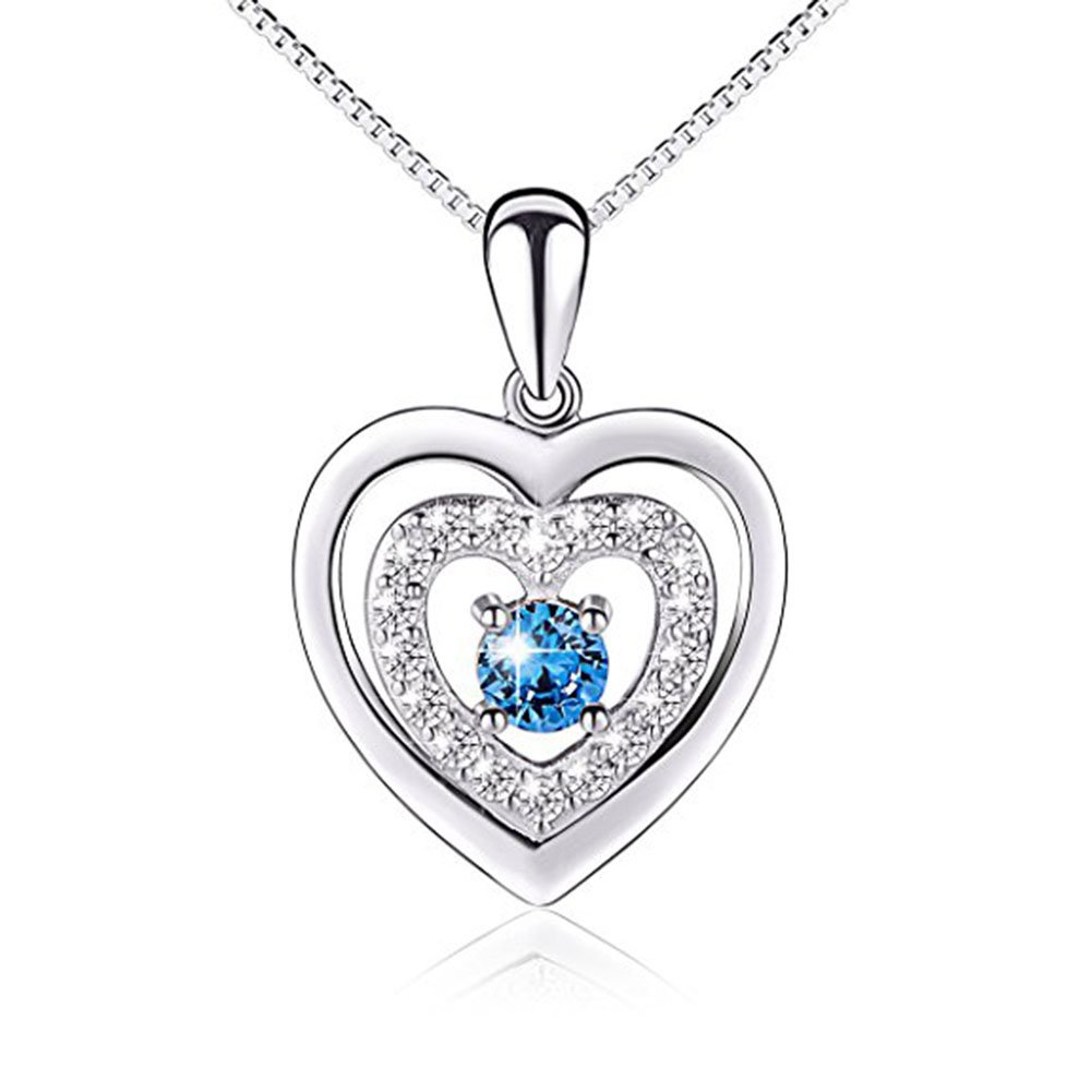 14K White Gold Plated Simulated Excellent Cut White /& Blue CZ Diamond Classic Heart Pendant With 18 Box Chain Silverraj Jewels Heart Pendant Collection