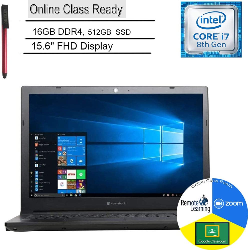 "Dynabook Toshiba Tecra A50-F 15 Business Laptop Computer_ 15.6"" FHD_ Intel Quad-Core i7-8565U up to 4.6GHz_ 16GB DDR4 RAM_ 512GB SSD_ DVDRW_ Online Class Ready_ Windows 10 Pro_ BROAGE 64GB Flash Drive"