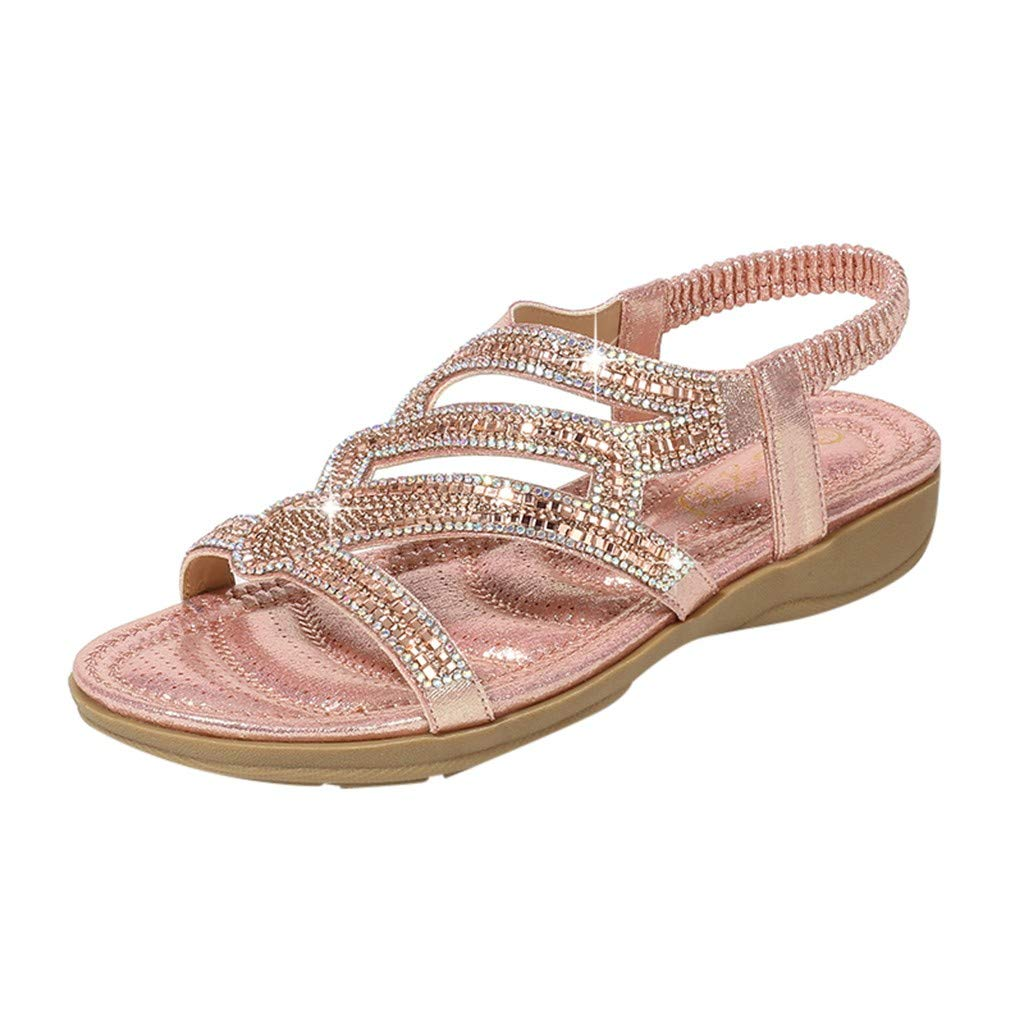 Women Flat Wedge Sandals Casual Bohemia Ankle Wrap Open Toe Crystal Shoes (US:6, Pink) by Yihaojia Women Shoes