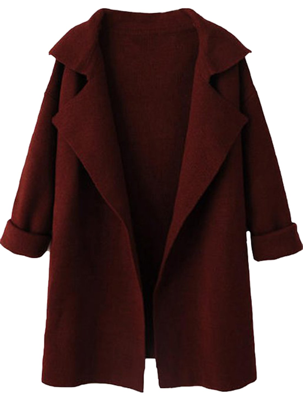 SheIn Women's Long Sleeve Cardigan Lapel Open Front Sweater One-Size Burgundy
