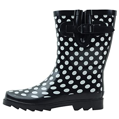Cambridge Select Women's Waterproof Pull On Mid Calf Welly Rain Boot: Shoes