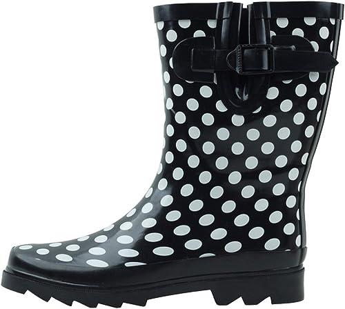 Cambridge Select Womens Waterproof Pull On Mid Calf Welly Rain Boot