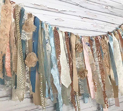 Rose Gold Blue Shabby Chic Rag Tie Garland: ~ Photo Shoot ~ Wedding ~ Birthday ~ Nursery ~ Bridal Shower ~ Highchair Banner ~ Gender Reveal Parties ~ Decorations ~ Wall Decor! (7 FEET WIDE)