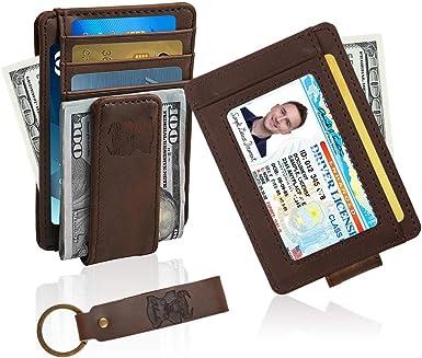 Leather Magnetic Front Pocket Money Clip Slim Minimalist Wallet Money Clip