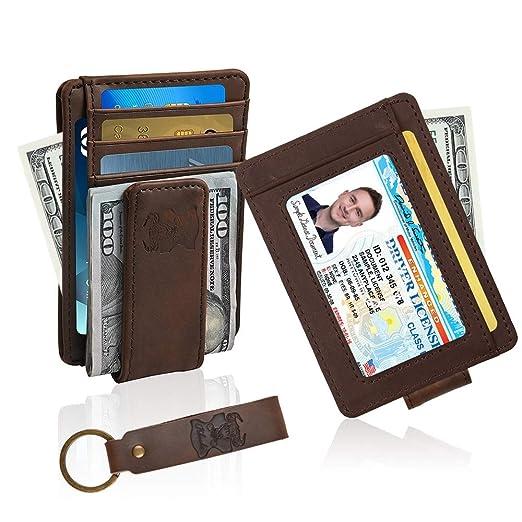 f88d1571365d20 Money Clip Wallet Leather Slim Front Pocket Magnetic RFID Money Clip Wallet  (Brown)