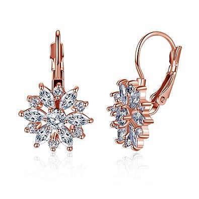 e40a9201c Hanie Rose Gold Flower Huggie Hoop Earrings White Marquise Crystal: Amazon. co.uk: Jewellery