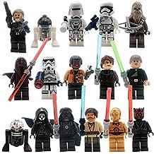 Star Wars Figures | Set of 16 Star Wars Minifigures | The Fearless Rebels VS Galactic Empire Characters| Obi-Wan Kenobi. Luke Skywalker, Han Solo, Chewbacca, R2-D2, Darth Vader, Storm Trooper,Sith...